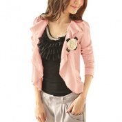 Pink XS Self Tie Waist String Front Opening Coat for Lady