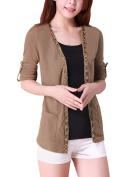 Ladies Front Opening Long Sleeve Knitting Cardigan Outwear Khaki XS