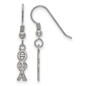 925 Sterling Silver Rhodium-plated Theta Phi Alpha Small Sorority Dangle Earrings