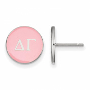 925 Sterling Silver Rhodium-plated Circle Enamelled Sorority Delta Gamma Post Earrings