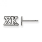 925 Sterling Silver Rhodium-plated Sororities Sigma Kappa Extra Small Post Earrings