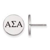 925 Sterling Silver Rhodium-plated Sororities Enamelled Circle Alpha Sigma Alpha Post Earrings