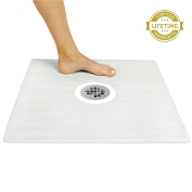 Shower Mat by Vive - Square Bath Mat with Drain Hole - Non Slip Pad Fits in Most Shower Stalls - Measures 60cm x 60cm - Lifetime Guarantee - Latex Free