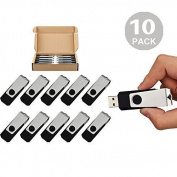 10pcs 16GB USB Flash Drives 10 Pack Flash Drive Flash Memory Stick Swivel USB 5.1cm Black