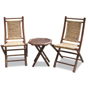 Heather Ann 3-piece Bamboo and Woven Bistro Set
