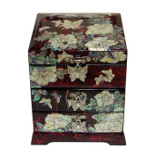 Mother of Pearl Butterfly Flower Red Lacquer Wood Drawer Jewellery Trinket Keepsake Treasure Chest Box