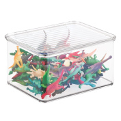 mDesign Kids/Baby Toy Storage Box for Action Figures, Cars, Crayons, Puzzles - 14cm x 18cm x 10cm , Clear