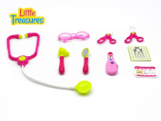 Girls Toy Stethoscope mini-doctors set from Little Treasures pretend play Dr carrying case includes glasses a thermometer, eye chart and other fun Nurse checkup tools