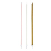 Talking Tables We Heart Pink Long Thin Candles (16 Pack), Multicolor
