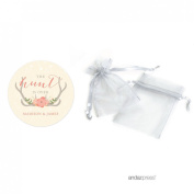 Andaz Press Woodland Deer Wedding Collection, Personalised Organza Bags with Round Gift Tags Party Favours Kit, The Hunt is Over, 24-Pack, Custom Made