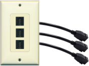RiteAV (1 Gang Decorative) 3 HDMI Black Wall Plate w/ Pigtail Extension Cable Light Almond