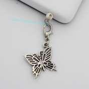 Silver Butterfly Charms - Cell Phone Dust Plug/ Earphone Jack Plug ,Anti-dust Plug Ear Cap 3.5mm for Iphone Ipod.for for for for for for for for for Samsung 65292; Nokia and Htc