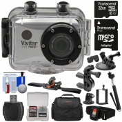 Vivitar DVR786HD 1080p HD Waterproof Action Video Camera Camcorder with Remote, Helmet, Bike & Suction Cup Mounts + 32GB Card + Case + Monopod Kit