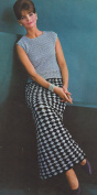 Vintage Crochet PATTERN/INSTRUCTIONS to make - Long Evening Skirt Shell Blouse Chequered. NOT a finished item. This is a pattern and/or instructions to make the item only.