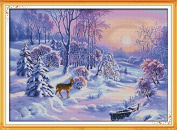 Happy Forever Cross Stitch, scenery, the forest snow