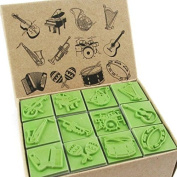 Np Crafts 12 Kids Music Instruments Rubber Stamps Set