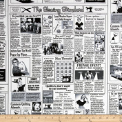 Timeless Treasures Quilting News White Fabric