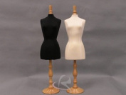ROXY DISPLAY® Mini Female Jewellery Mannequin Dress Form Black Body With Maple Wooden Base & Cap