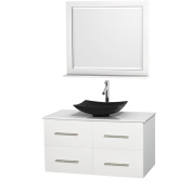 Wyndham Collection Centra White 110cm Single White Man-made Stone Bathroom Vanity with Mirror