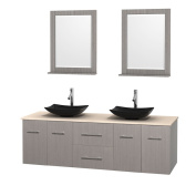 Wyndham Collection Centra Grey Oak 180cm Double Ivory Marble Bathroom Vanity with Mirrors