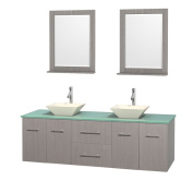 Wyndham Collection Centra Grey Oak 180cm Double Green Glass Bathroom Vanity with Mirrors