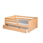 Camaflexi Twin-size Natural Finish Day Bed with Front Guard Rail with Trundle and Panel Headboard