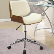 Astrid Adjustable Modern Curved Wood Upholstered Swivel Office Chair