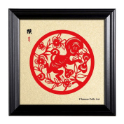 Framed Artwork of Chinese Paper-cut Art, Chinese Zodiac of Monkey, Chinese New Year Decorations, with Wood Fame, 25cm x 25cm Picture Size