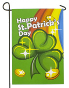 Darice Happy Saint Patricks Day Garden Flag Shamrock Rainbow