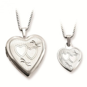 Sterling Silver Polished & Textured Finish Double Hearts Design Heart Locket Pendant Necklace Set