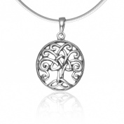 925 Sterling Silver Celtic Knot Filigree Trinity Tree Of Life Oval Pendant Necklace, 46cm