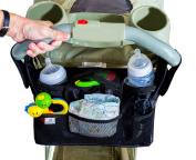 Universal Baby Organiser Bag For Strollers - Best Quality - Fits Britax, City Mini, Bob, Uppababy, Umbrella, plus many others. 2 Deep Insulated Cup Holders With Easy Storage Of Essential Items, Black