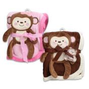Little Mimos Girls & Boys Monkey Fleece Baby Blanket