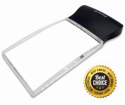 Fancii LED Light 2X Large Rectangular Handheld Magnifier Reading Magnifying Glass - 5.8cm X 10cm Rimless Lens | Bonus Storage Pouch | For Seniors, Low Vision, Macular Degeneration, Hobbies and Crafts