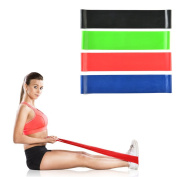 Image Exercise Resistance Loop Bands-Physical Therapy Bands-Fitness Theraband Stretch-Elastic Power Weight Bands-Set of 4 Strength Performance Bands-In Home Gym Elastic Strength for All Workouts