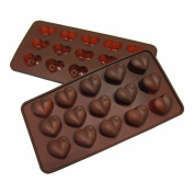 Silicone Heart Mould Shaped BY Craviy, -Set of 2- Silicone Chocolate Moulds, Candy, Jelly, Heart Shaped Ice Cube, Soap,