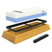 Whetstone - Best Professional Grade 2-Sided Knife Sharpening Stone - #1000 & #6000 Grit - with Non-Slip Bamboo Base and. Knife Angle Guide -