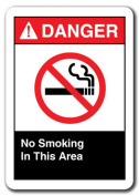 Danger Sign - No Smoking In This Area 18cm x 25cm Plastic Safety Sign ansi osha