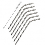 Zicome Set of 6 Stainless Steel Reusable Drinking Straws and Cleaning Brush Set - Fits 590ml Yeti Tumbler Rambler Cups