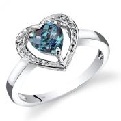 14K White Gold Created Alexandrite Diamond Heart Shape Promise Ring 1 Carats Total