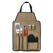 Outdoor 7-piece Barbecue Apron and Utensil Set