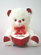 Big 38cm Cute Ivory Valentine's Super Soft Teddy Bear Plush Holding Heart Shape case (Box) Great for Chocolate or Gift Card