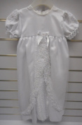 Pequilino Baby Christening Gown With Bonnet 6/12 Months