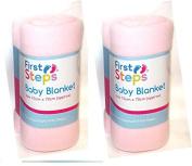 2 x First Steps Soft Fleece Washable Baby Blanket 70cm x 70cm 0M + Pink