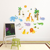 Decowall,DW-1513,Jungle Animals Wall Stickers,Nursery wall decals