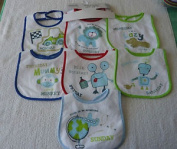 7 pack BABY BIBS Boys Girls Terry Waterproof back Tractor Truck Police Car Vehicles