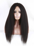 Doubleleafwig Afro Kinky Straight Brazilian Human Hair Glueless Lace Front Wig Natural Black 1B (41cm ) by Doubleleafwig