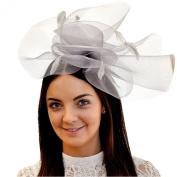 Chelsea Jones - Over-sized Gauze Flower & Coq Plume Headband Fascinator - Grey