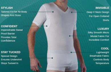 Sweat Proof Undershirt for Men - Excessive Sweating✓ Sweatshield✓ SIZE: MEDIUM