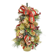 0.6m Red and Gold Decorated Holiday Tree
